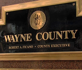 The sign outside Wayne County's headquarters in Downtown Detroit.