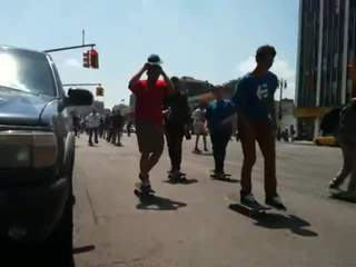 Skateboarders hit Detroit