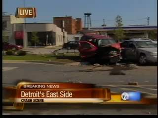 Crash scene on Detroit's east side