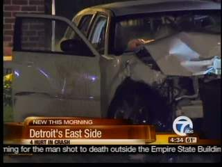 4 hurt in crash on Detroit's East Side