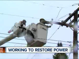 Crews working to restore power in area hit by high winds