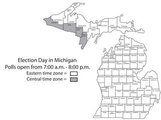 Michigan 2012 Election Day voting hours map
