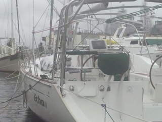The sailboat Echo in Portsmouth, VA during Hurricane Sandy