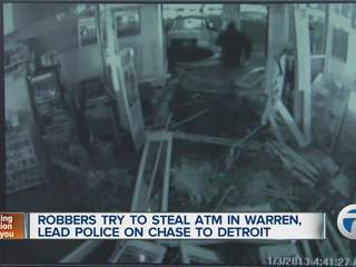 Robbers try to steal ATM in Warren, lead police on chase to Detroit