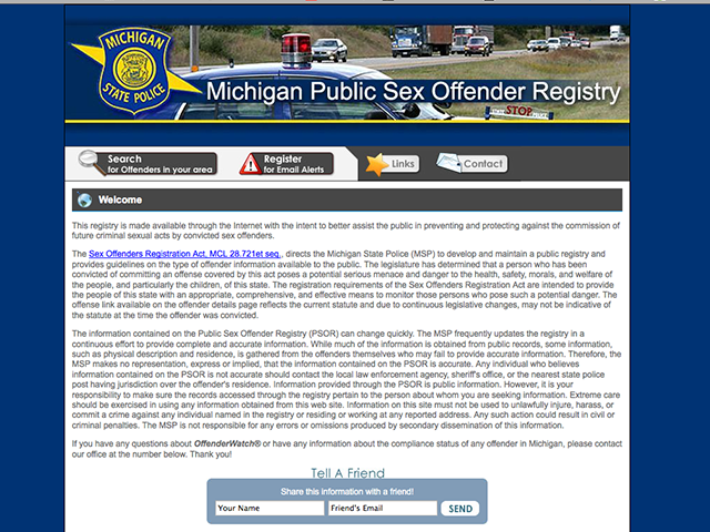 michigan sex offender registry search