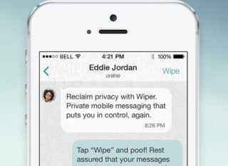 Wiper app keeps your text messages private