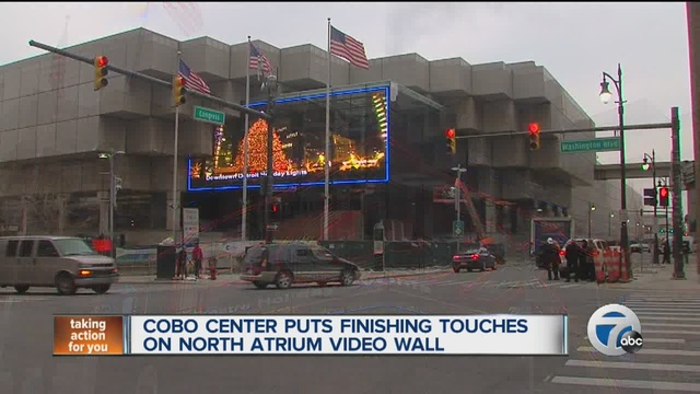 VIDEO: Cobo Center puts finishing touches on north atrium video wall