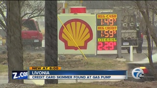 Credit card skimmer found at Livonia gas station