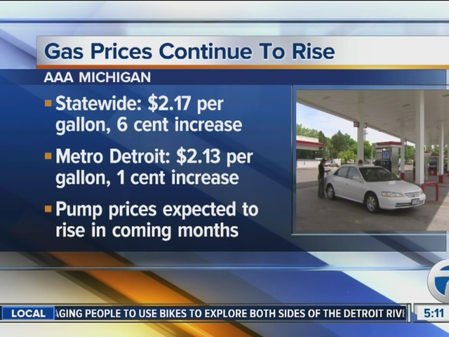 Detroit Gas Prices >> Gas Prices Continue To Rise In Metro Detroit