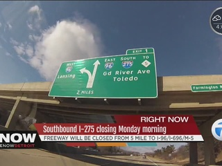 SB I-275 closes Mon. between 5 Mile, I-96/I-696