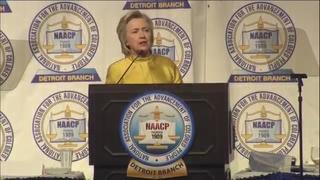 Hillary Clinton speaks at Detroit NAACP dinner