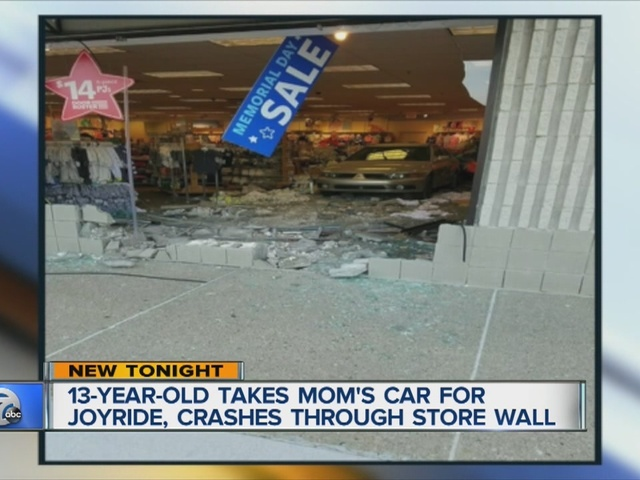 13-year-old crashes car into baby store