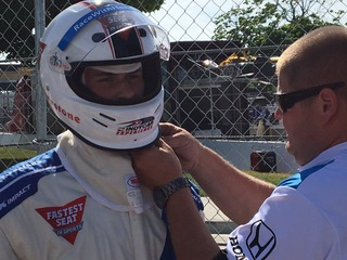 Grand Marshal Dylan Larkin takes IndyCar ride