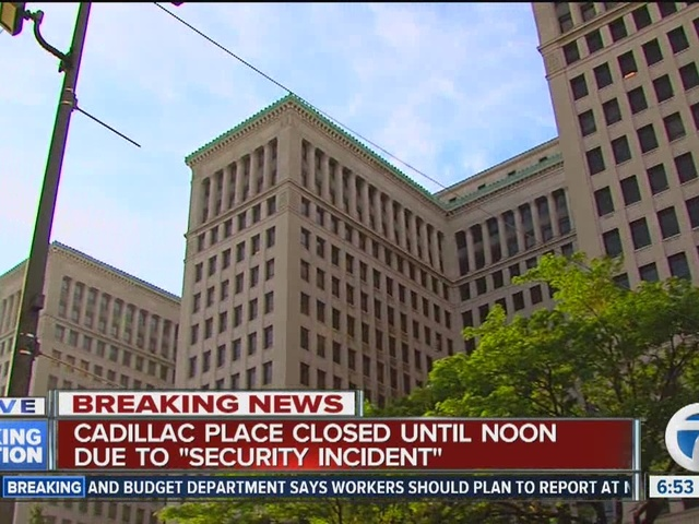 Cadillac Place in Detroit closed until noon due to security threat