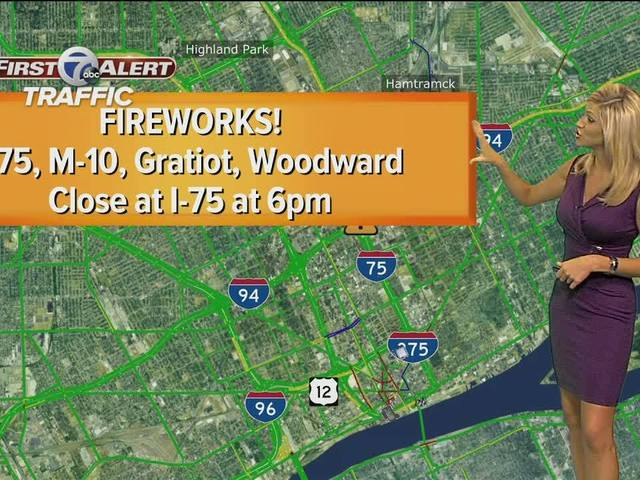 Traffic preview for Detroit fireworks tonight