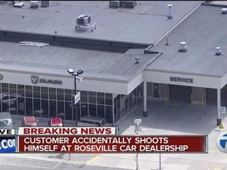 Man accidentally shoots himself at dealership