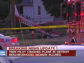 Woman hurt after small plane crashes in Detroit