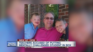 Family angry boy was put into a box at school