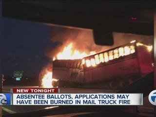 Were absentee ballots on USPS truck on fire?