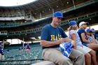 VIDEO: Harbaugh throws first pitch at Cubs game