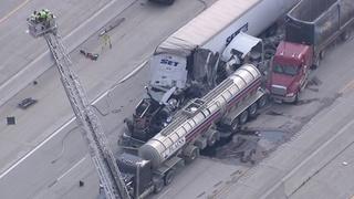 Serious crash involving semis shuts down EB I-94