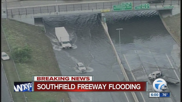 Flooding halts traffic on Southfield Freeway