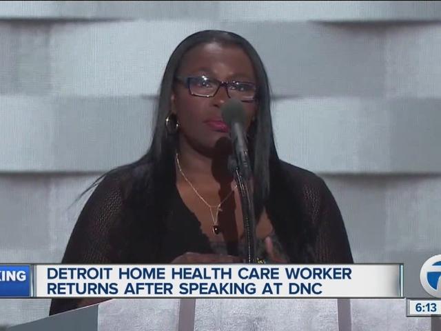 Detroiter who spoke at DNC returns home