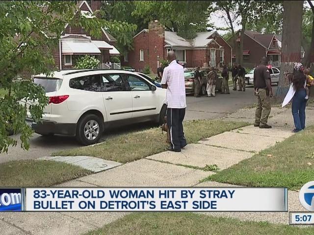 Elderly woman hit by stray bullet in Detroit
