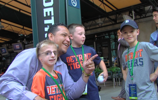 Cabrera hosts event for kids at Comerica Park