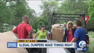 Men caught illegally dumping now help clean city