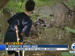 10-year-old boy helping bust blight in Detroit