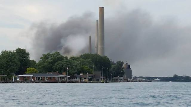 Fire crews battle blaze at power plant northeast of Detroit