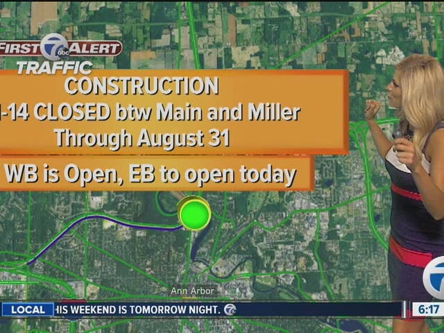 M-14 expected to fully reopen on Friday afternoon