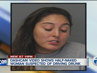 Video shows woman drunk driving while half naked