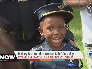 Boy fighting cancer takes over as police chief