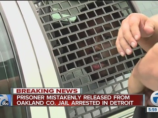 Prisoner in custody after accidental release