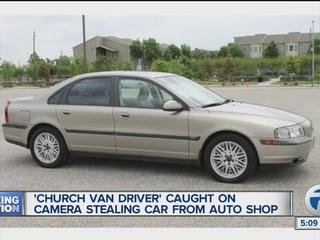 Man driving church van rips off car