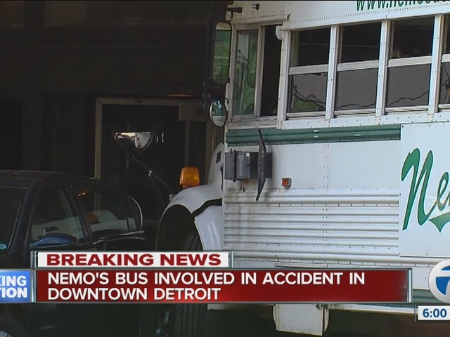 Nemo's Bar bus involved in an accident Downtown