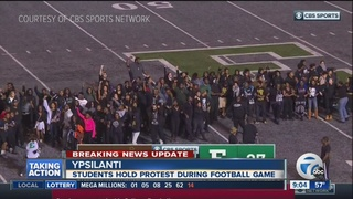 Large protest at Eastern Michigan football game