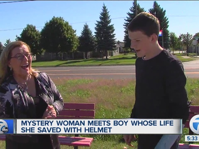 Woman meets boy after her helmet saved his life
