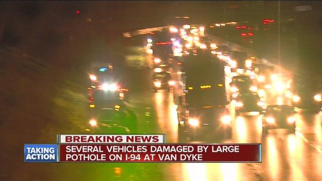 20 cars damaged by huge pothole