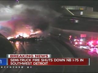 Jackknifed semi burns on I-75 in Detroit