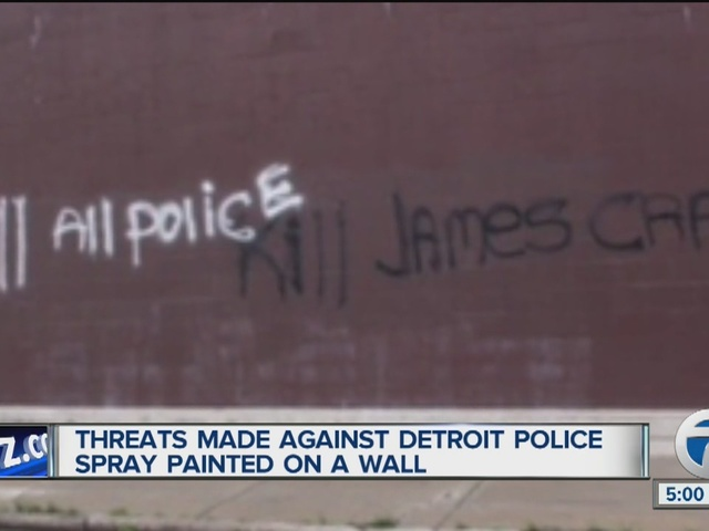 Threats against Detroit police, Chief James Craig painted on Detroit wall