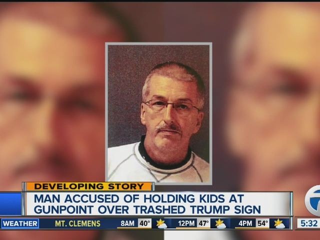 Man suspected of pulling gun on kids over Trump sign