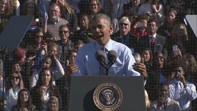 President Obama campaigns for Clinton in Ann Arbor, Michigan