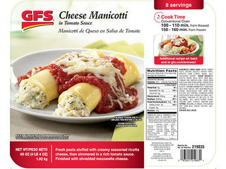 Pans of GFS Cheese Manicotti recalled