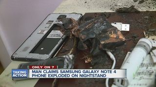 Samsung Note 4 explodes while man is sleeping