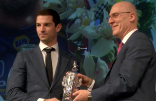 Indy 500 winner Rossi gets Baby Borg trophy
