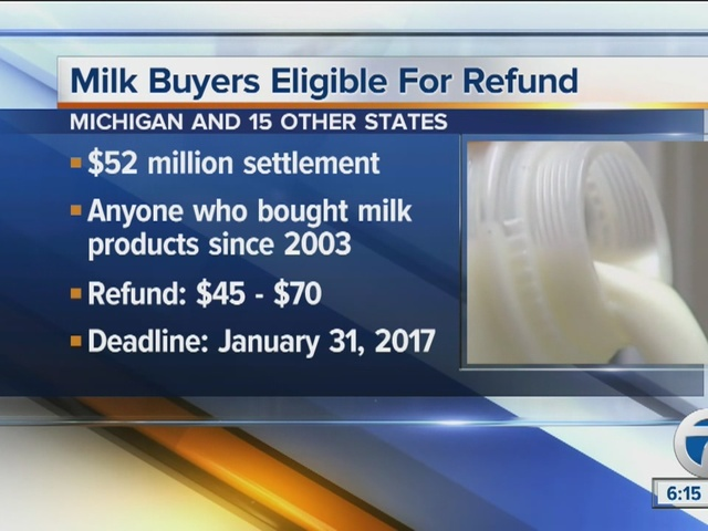Refund for milk buyers because of class action lawsuit