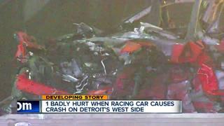 Street drag race ends in fiery crash in Detroit